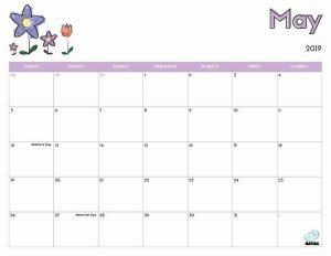 May Printable Calendar 2019