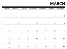 Month Of March 2019 Printable Calendar
