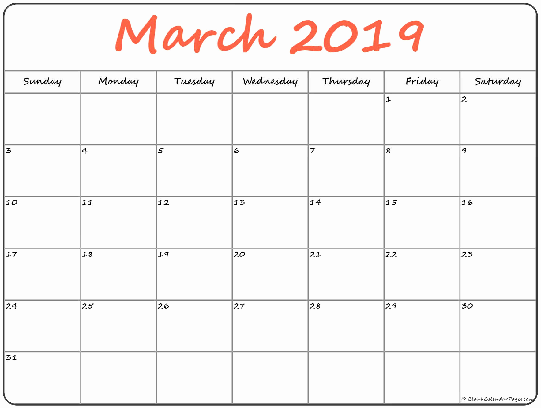 Monthly Blank Calendar March 2019 Blank