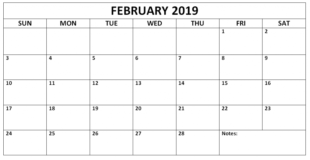 Monthly Calendar Template February 2019