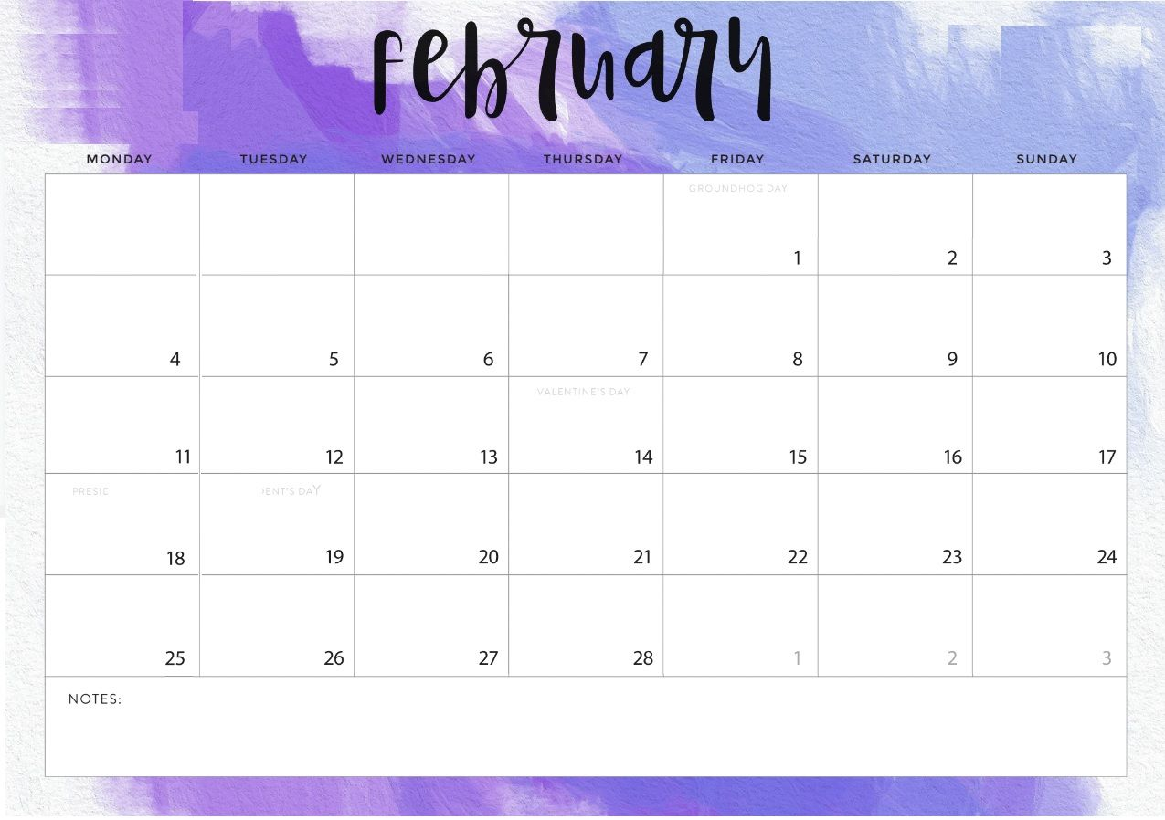 Monthly Desk Calendar For February 2019