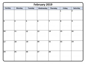 Monthly Feb 2019 Calendar