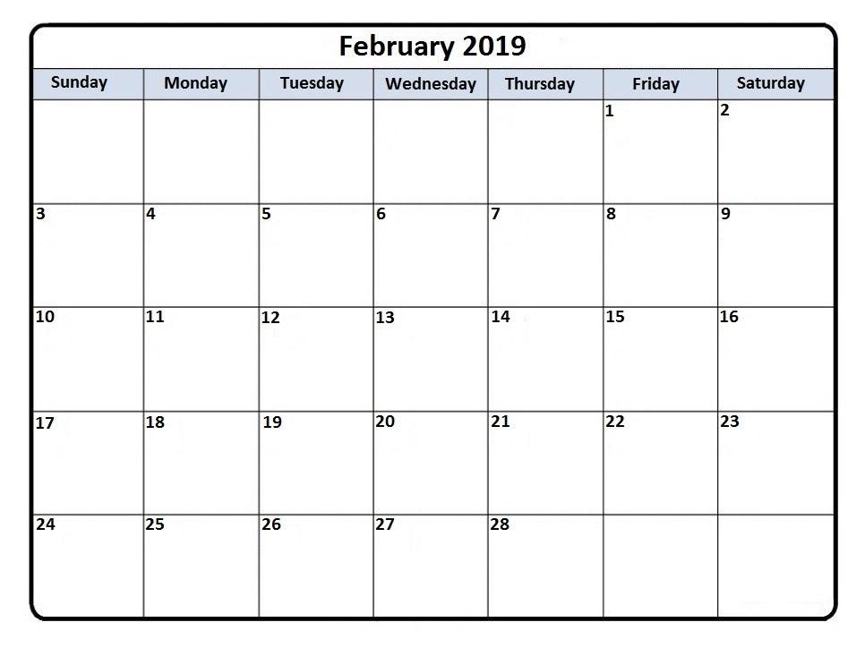 Monthly Feb 2019 Calendar
