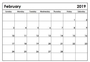 Monthly February 2019 Editable Calendar