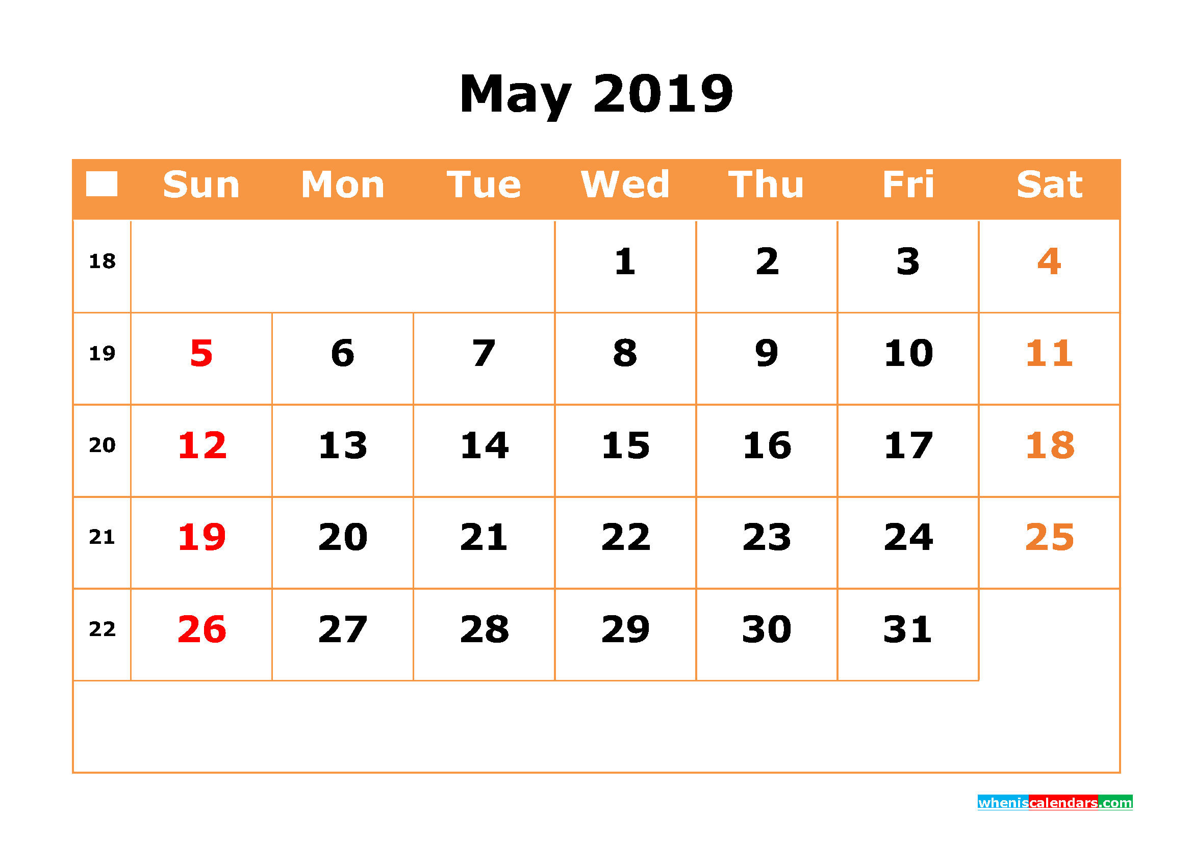 Monthly May 2019 Calendar
