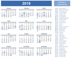 Monthly Printable Calendar 2019