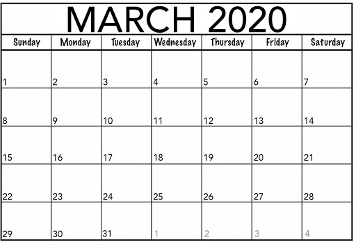 Monthly Printable March 2020 Calendar
