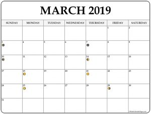 Moon Phases March 2019 Calendar Template
