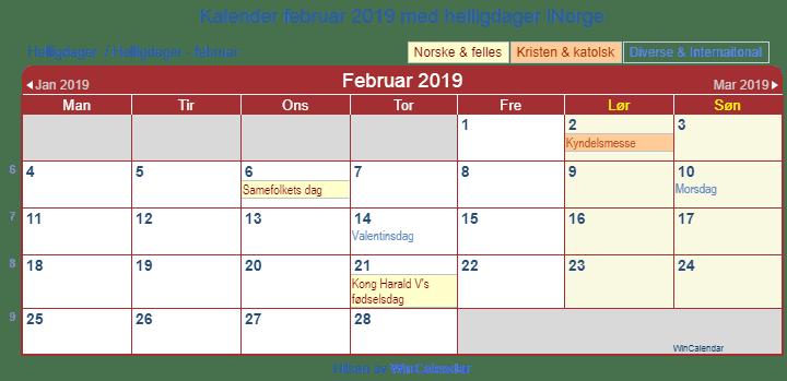 Norge Kalender Februar 2019