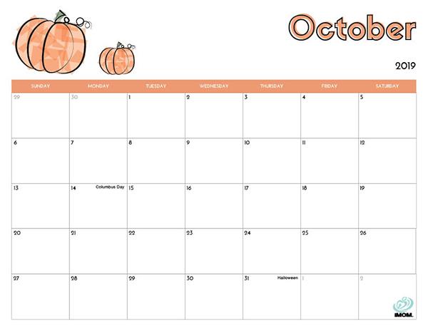 October Printable Calendar 2019