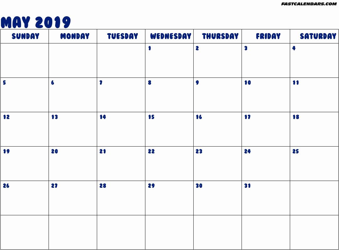 Online May 2019 Calendar