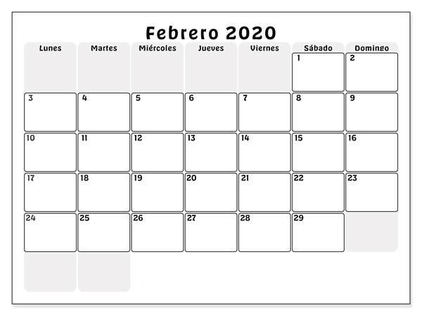 PDF Calendario Febrero 2020 Para Imprimir