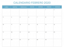 Para Imprimir Calendario Febrero 2020