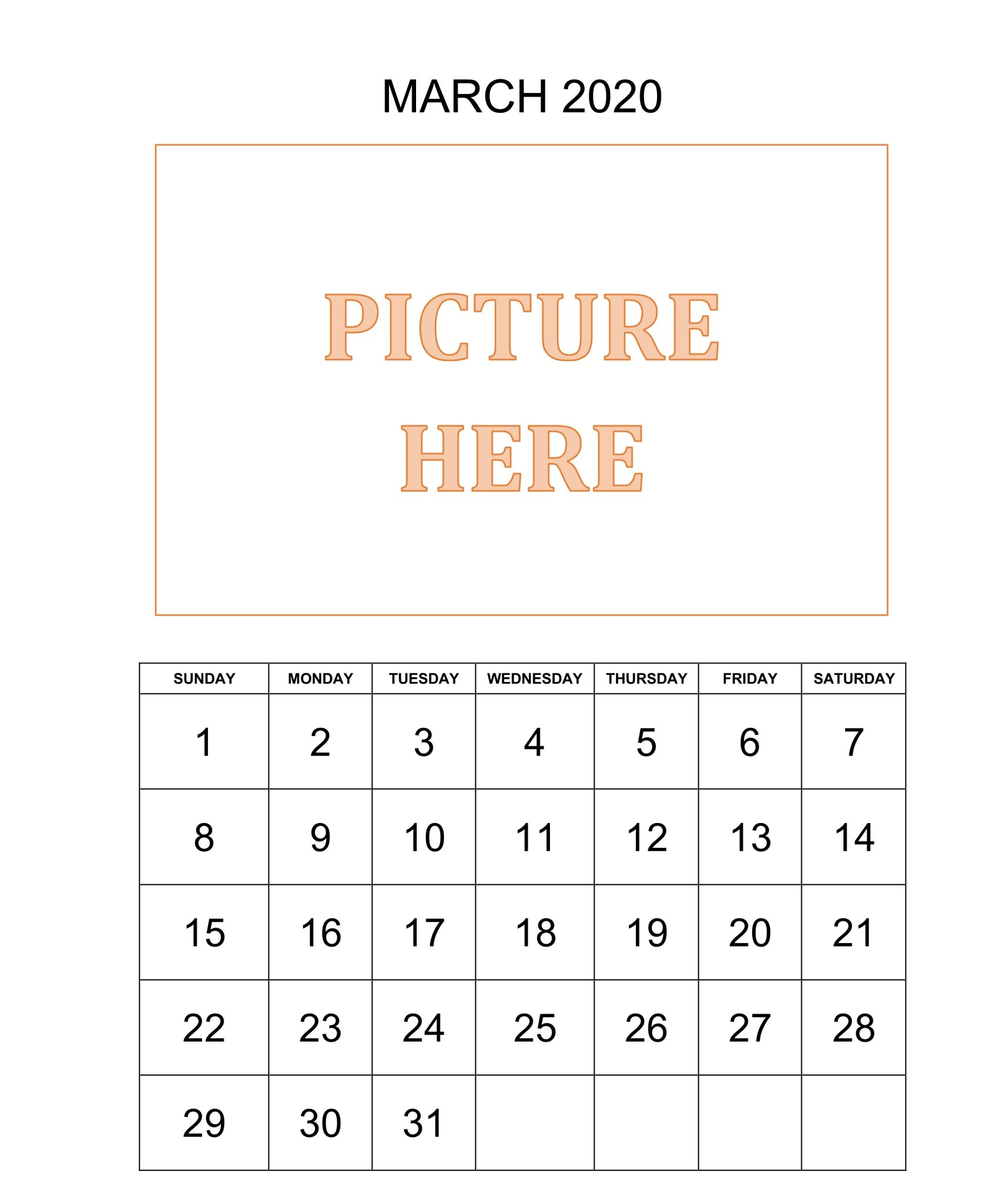 Personalized March Printable Calendar 2020