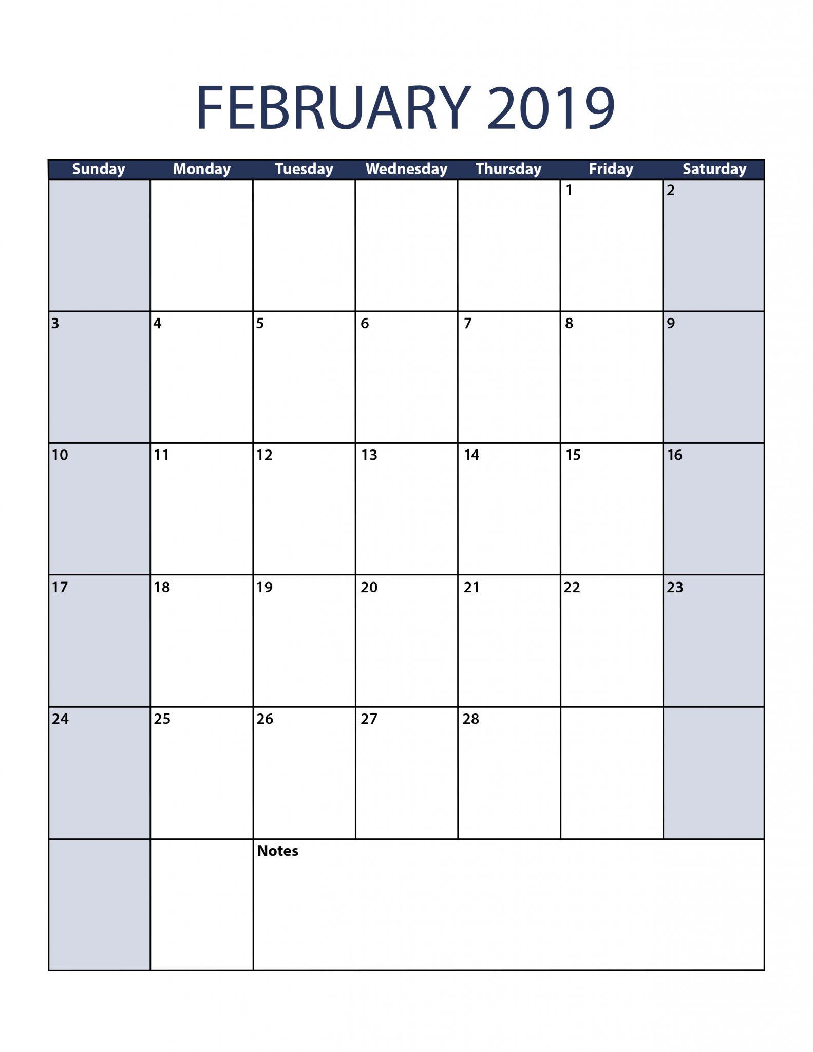 Portrait Calendar February 2019