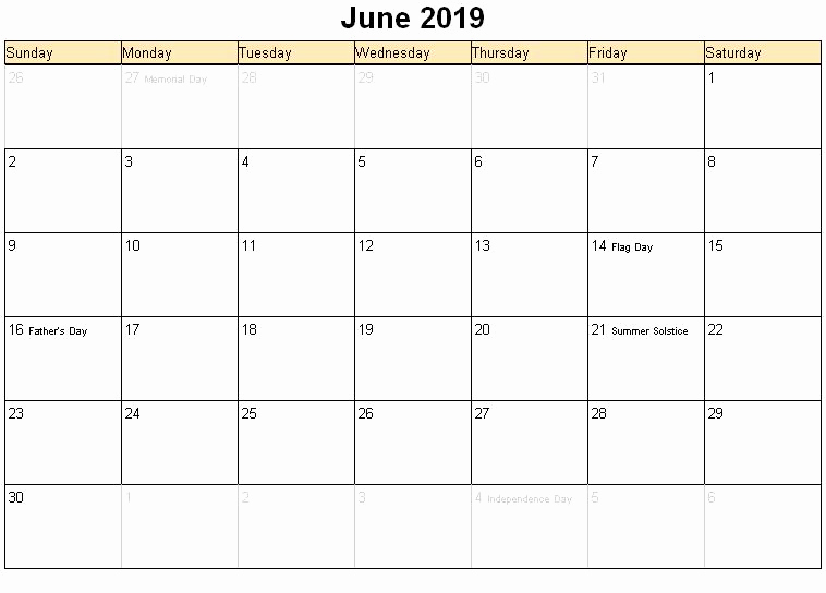 Print June 2019 Holidays Calendar
