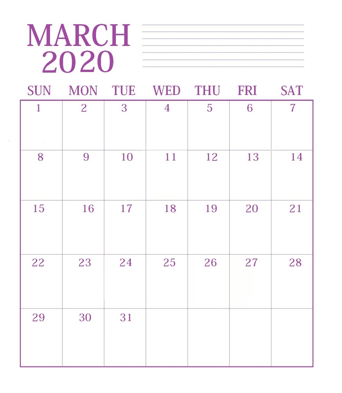 Print March 2020 Desk Calendar