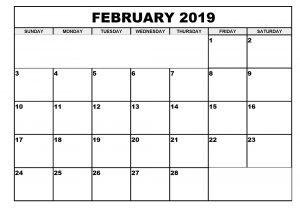 Printable Calendar Feb 2019 Template