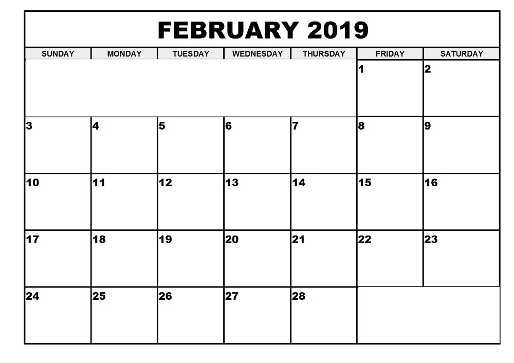 Printable Calendar Feb 2019 Template