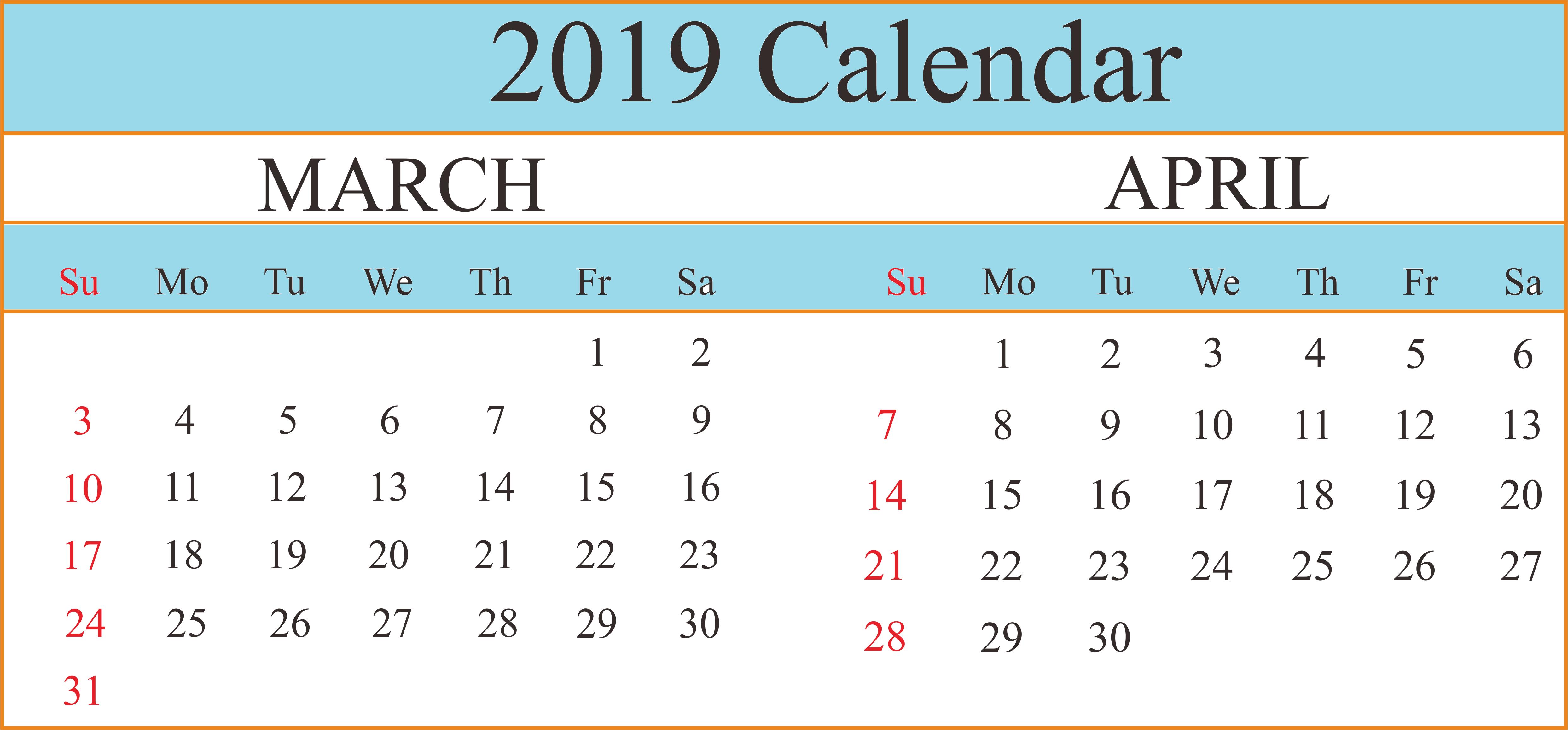Printable Calendar March April 2019