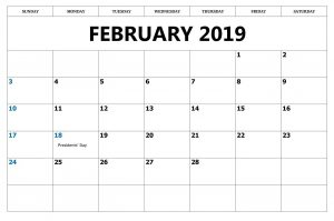Printable Feb 2019 Calendar With Holidays