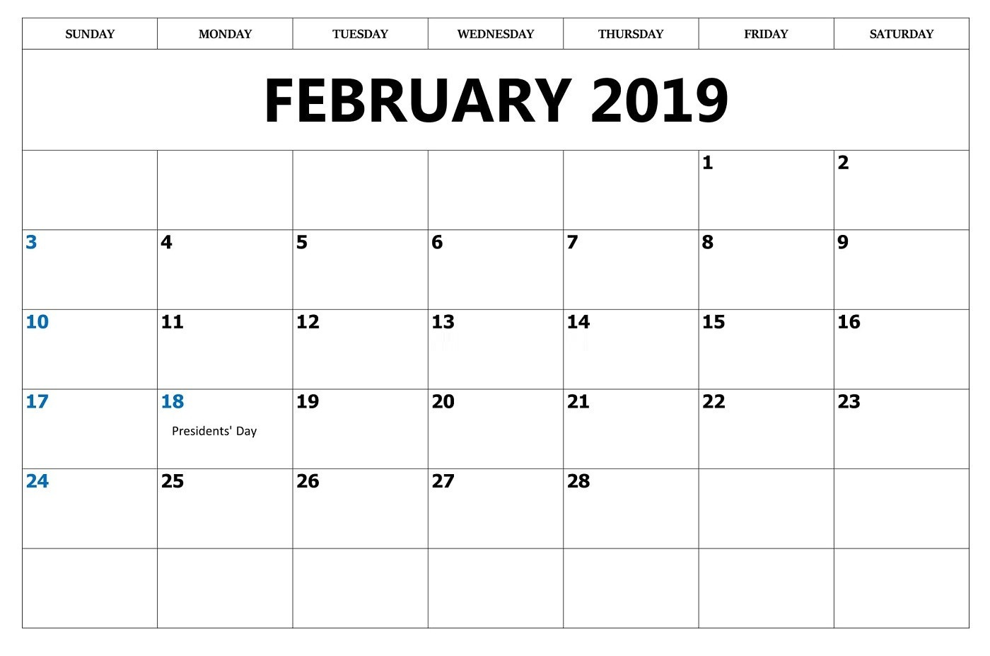 Printable Feb 2019 Calendar With Holidays