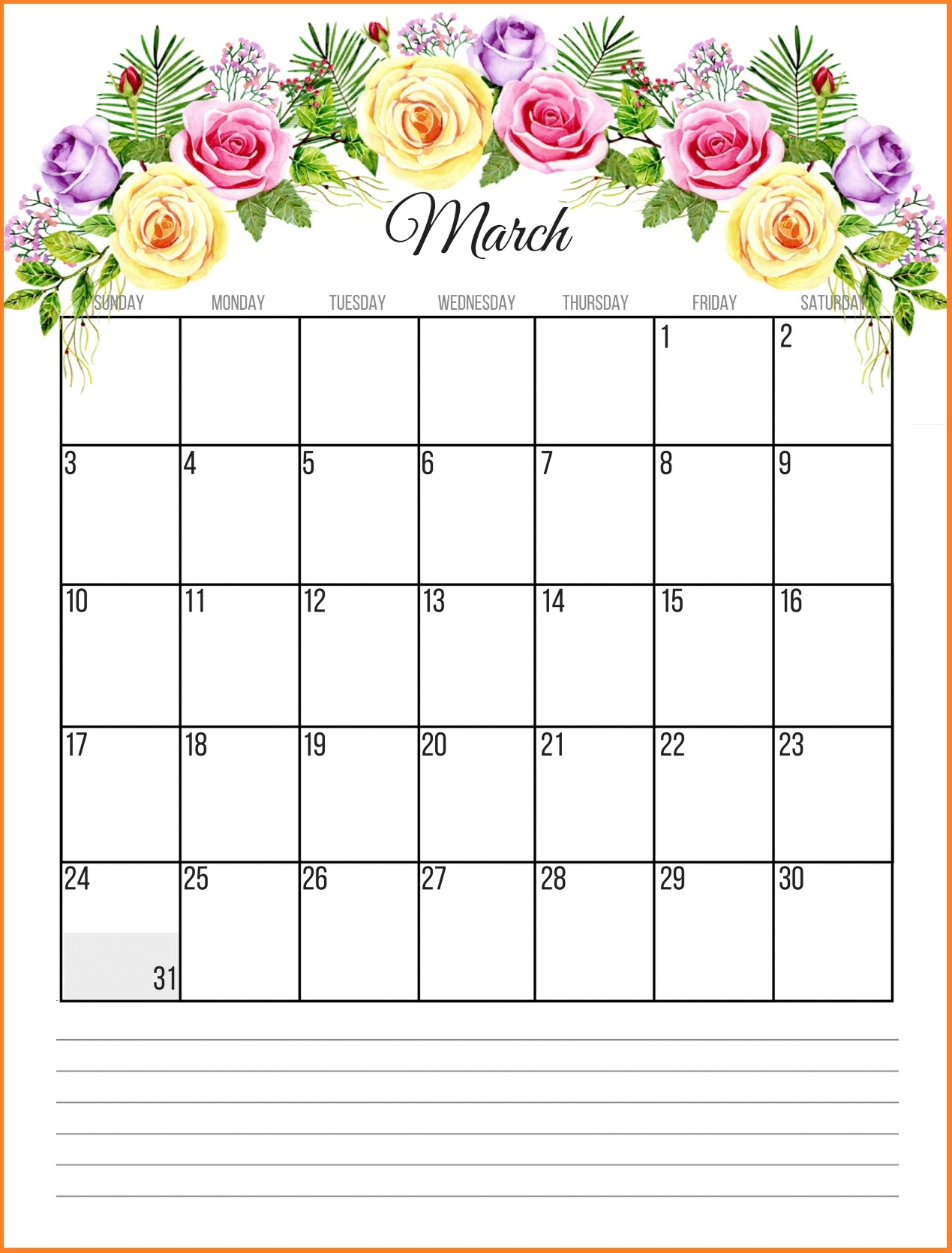 Printable Floral March 2019 Calendar Printable