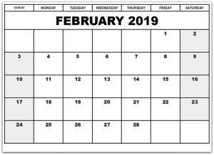 Printable Monthly Calendar Feb 2019