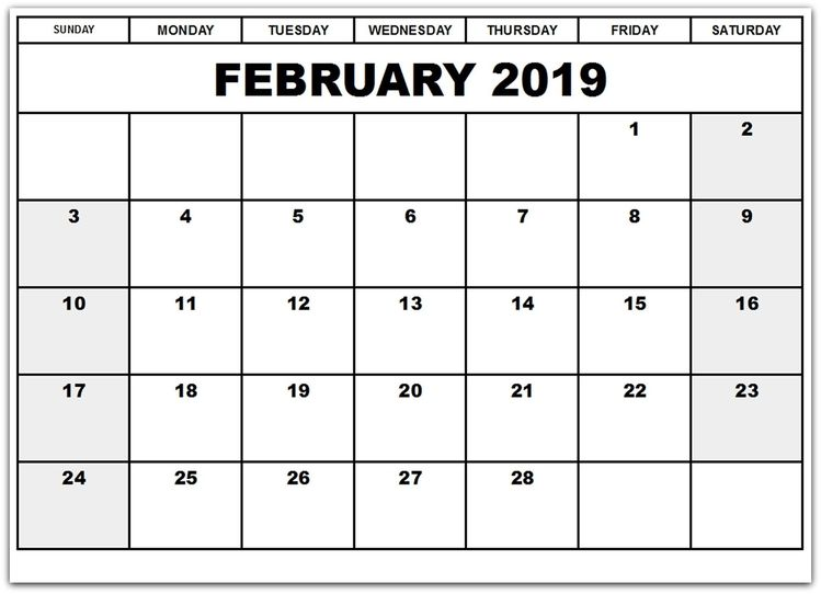 Printable Monthly Calendar Feb 2019