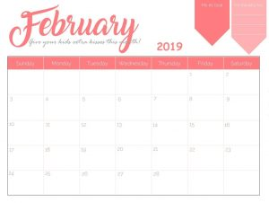 Wall Calendar February 2019