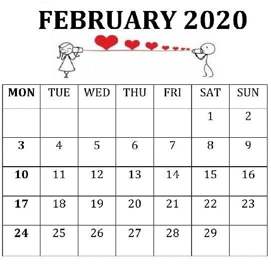 Wall Calendar February 2020