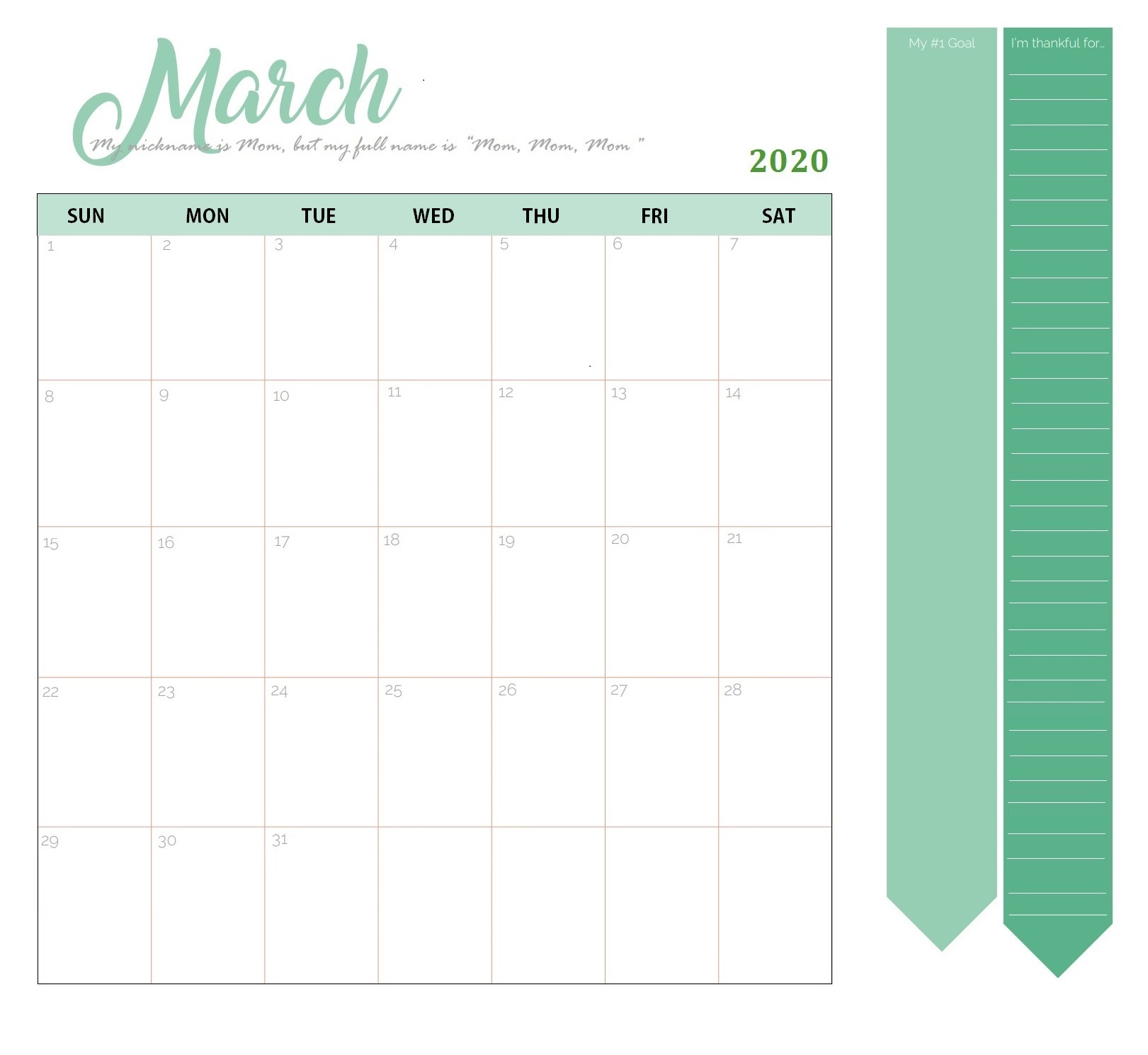 Wall Calendar Template March 2020