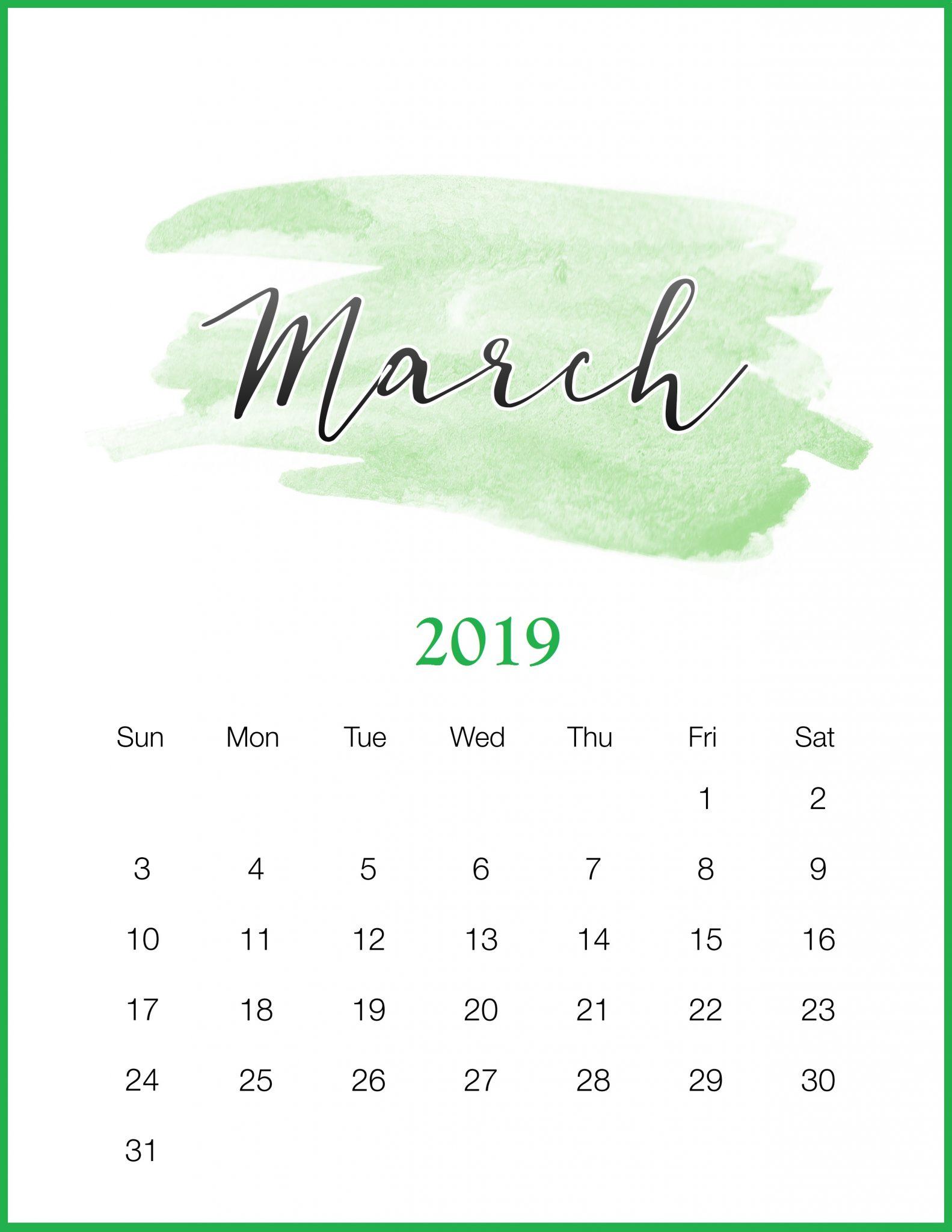 Watercolor 2019 March Printable Calendar