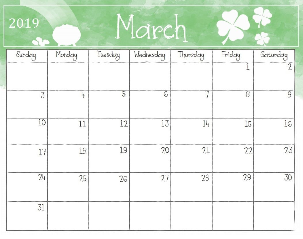 Watercolor March 2019 Calendar Template