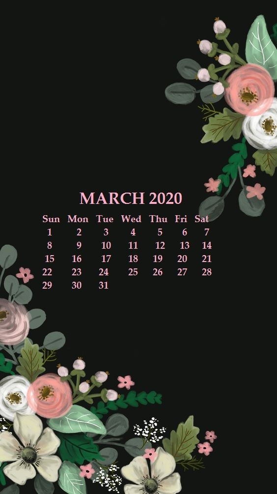 iPhone Calendar For March 2020
