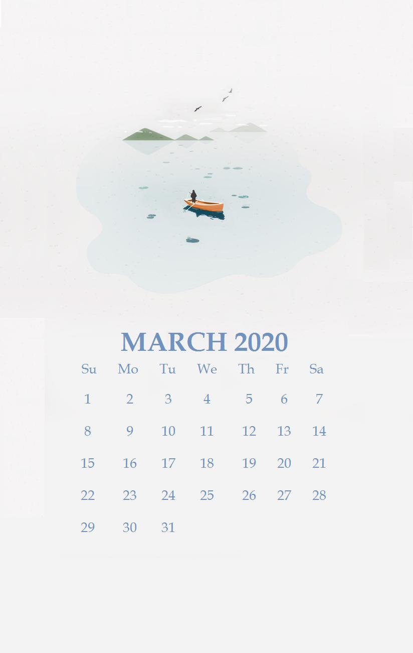 iPhone March 2020 Calendar Wallpaper