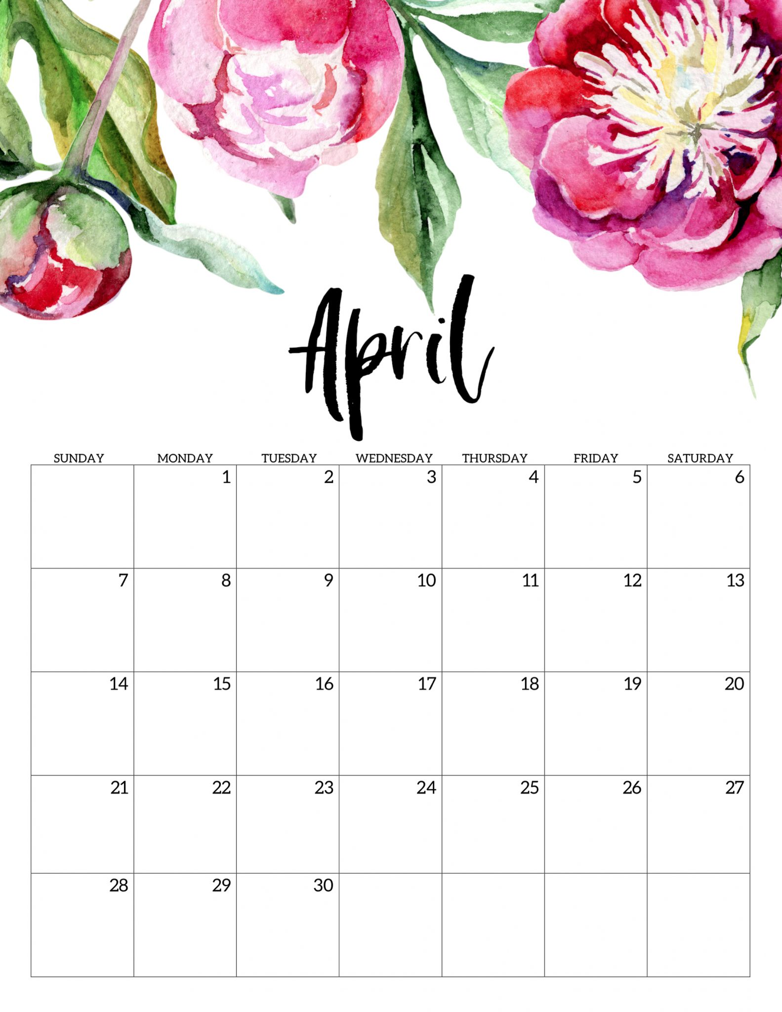 April 2019 Calendar Template Cute Free Printable Calendar
