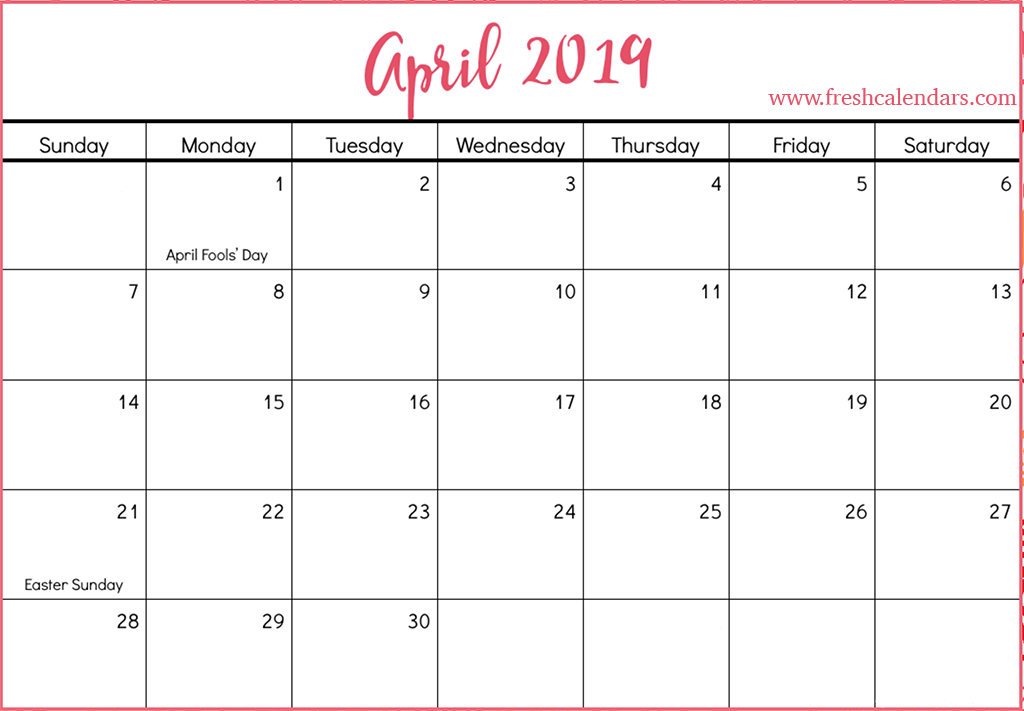 April 2019 Calendar Templates Free Printable Calendar Templates