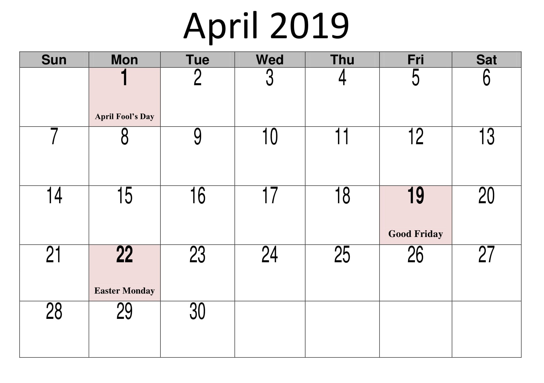 April 2019 Calendar With Holidays Template Free Printable Calendar