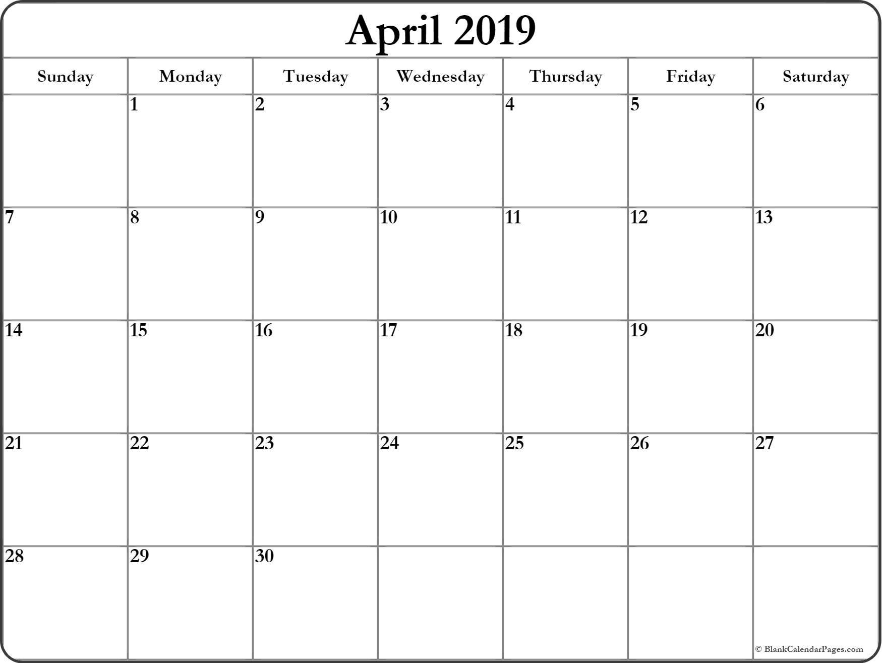 April 2019 Printable Calendar Page