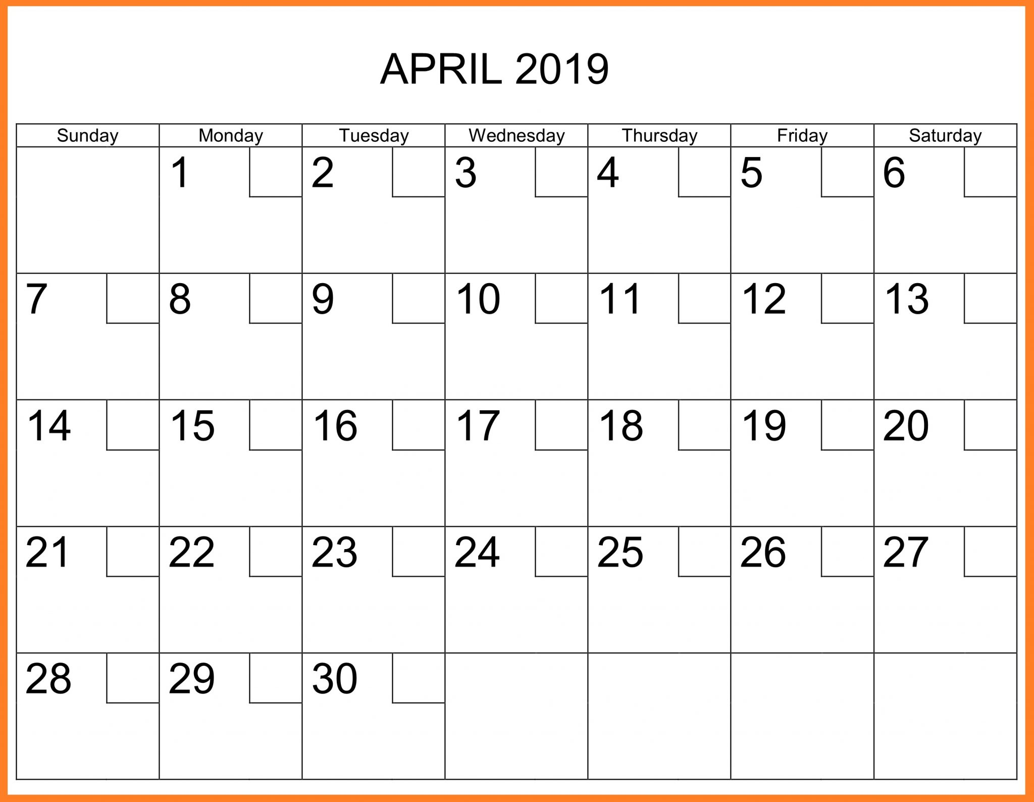 April 2019 Printable Calendar Template