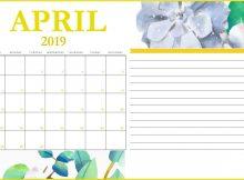 April 2019 Printable Calendar With Notes