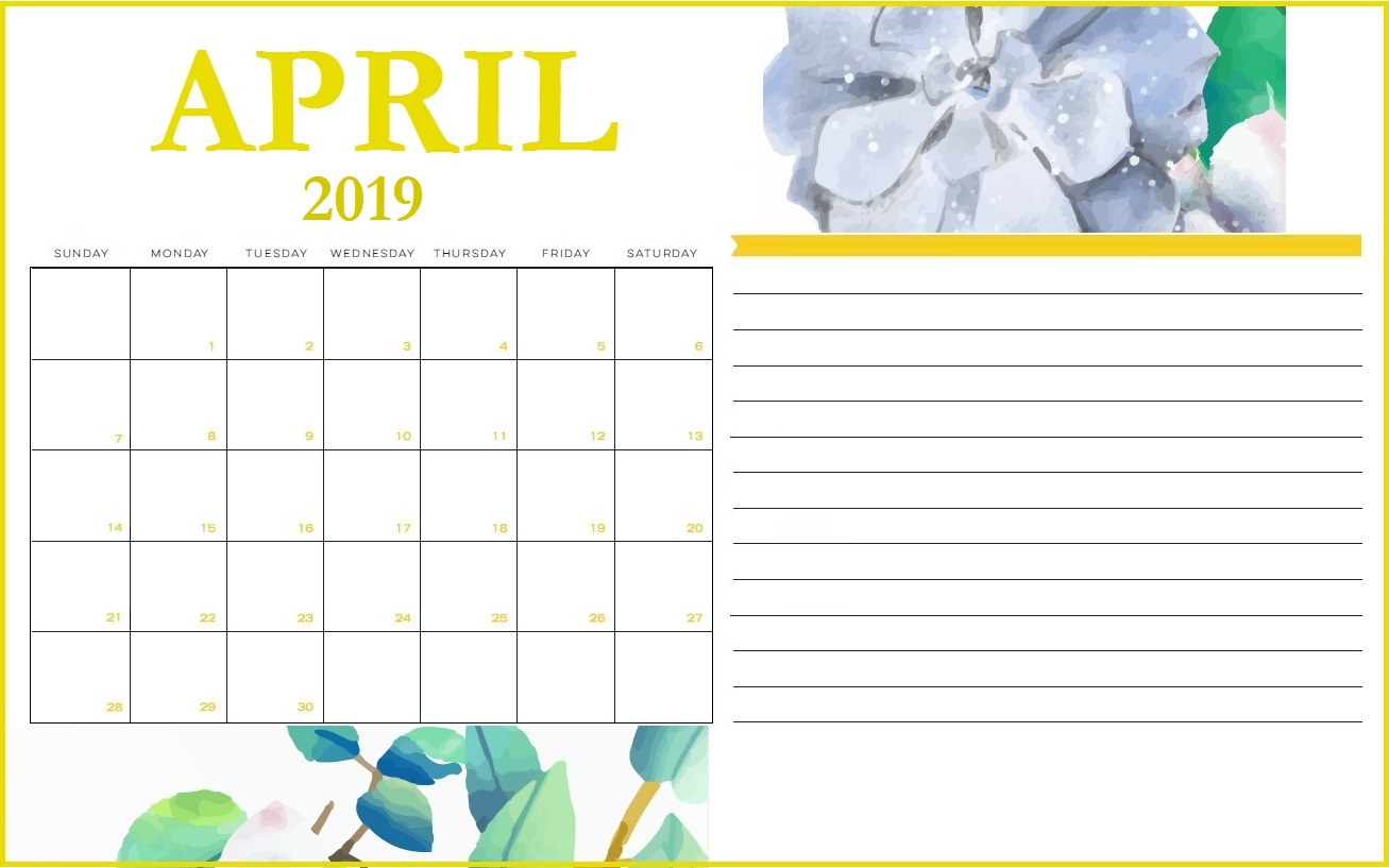 April 2019 Printable Calendar With Notes