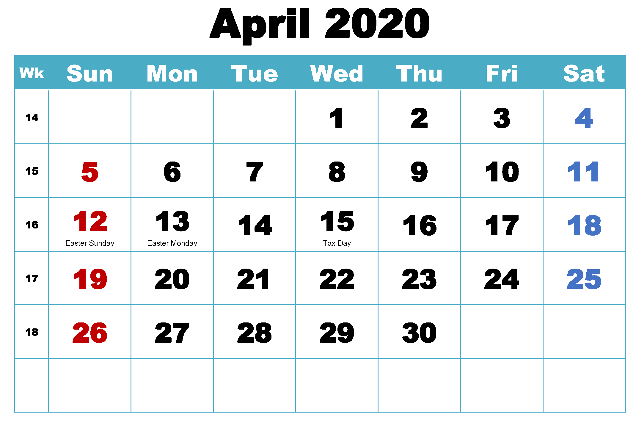 April 2020 Calendar Monthly Dates