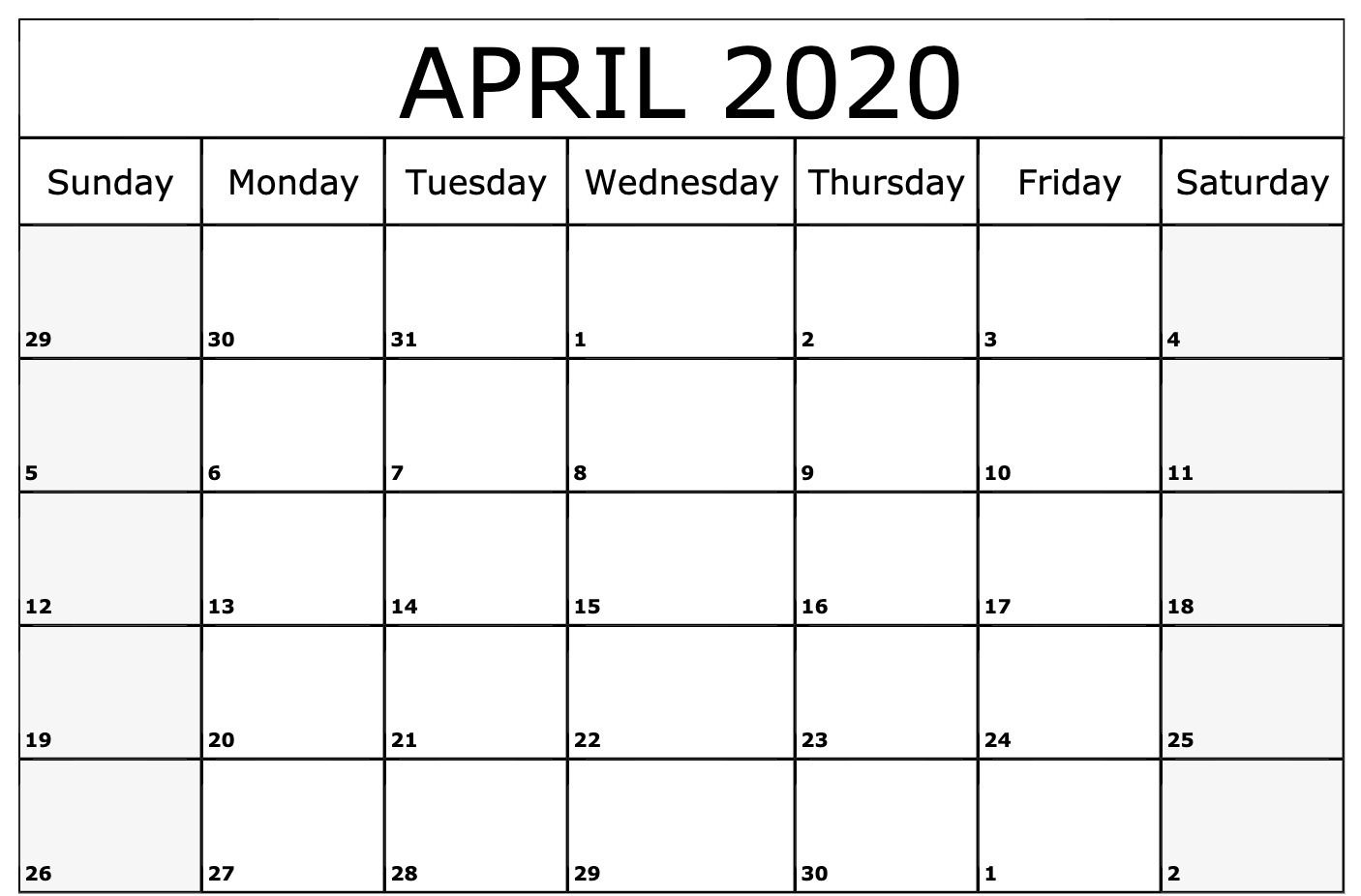 2020 April Calendar Printable Template