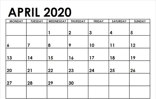 April 2020 Calendar Template Word