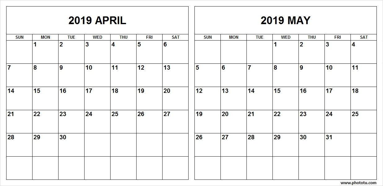 April May 2019 Calendar Template