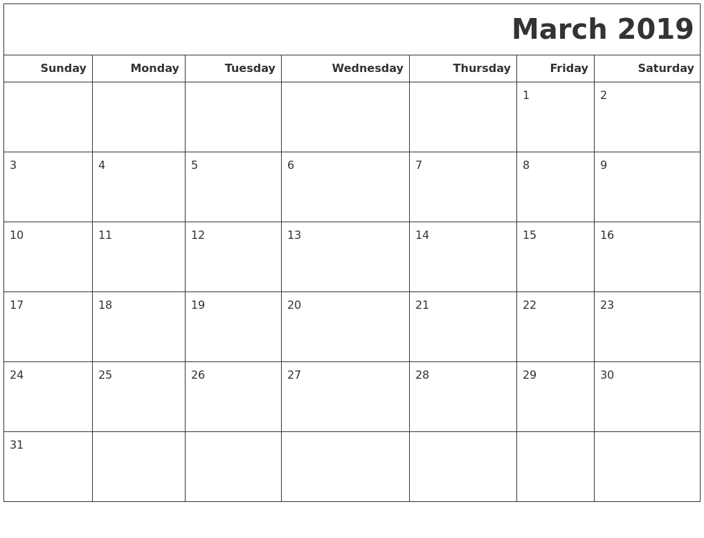 Blank 2019 March Calendar Editable Images