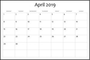 Blank Calendar April 2019 Printable