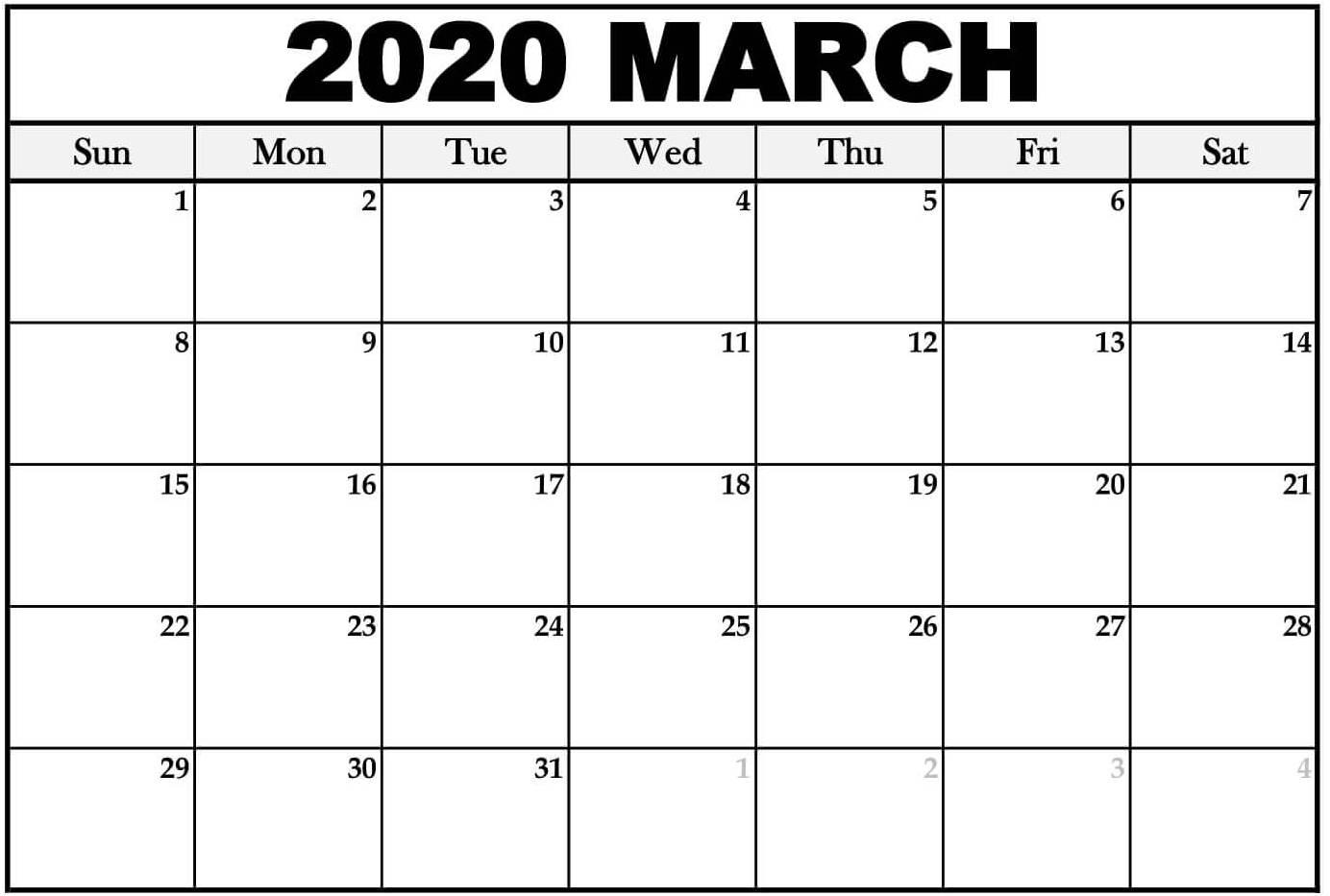 Blank Calendar March 2020 Editable